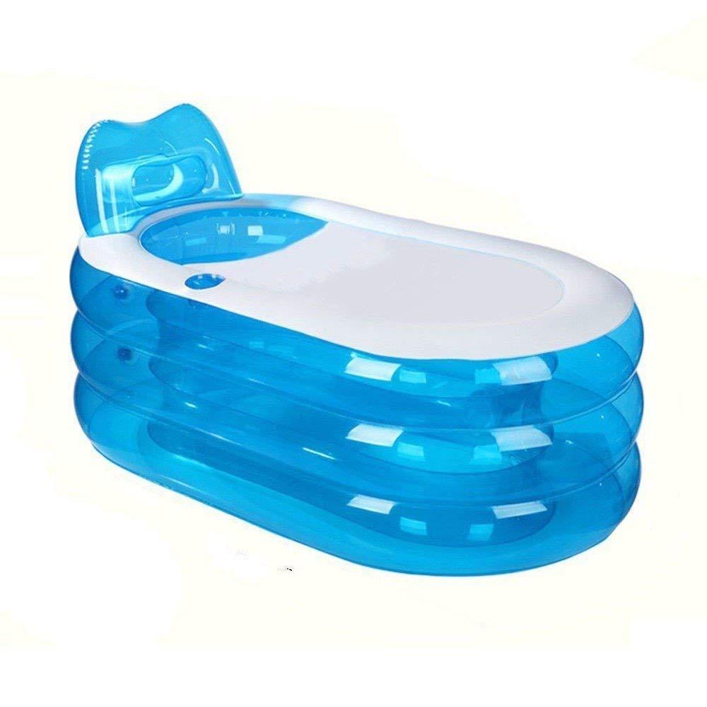 Portable Foldable SPA Inflatable Bathtub PVC Free Standing Bath Tub Soaking Tub Bathtub Bathroom SPA For Children Kid Adult Senior Citizen (Blue)