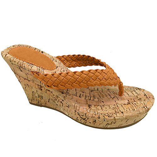 Women Platform Thong Sandals Fashion Colors Wedge Heel Shoes (Tan Woven) 8 (Heel Thong)