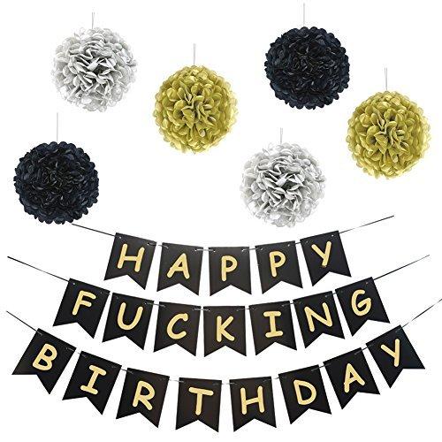 Locca – Cartel de cumpleaños con texto en inglés'Happy Fucking Birthday', color negro y dorado, para decoración de...