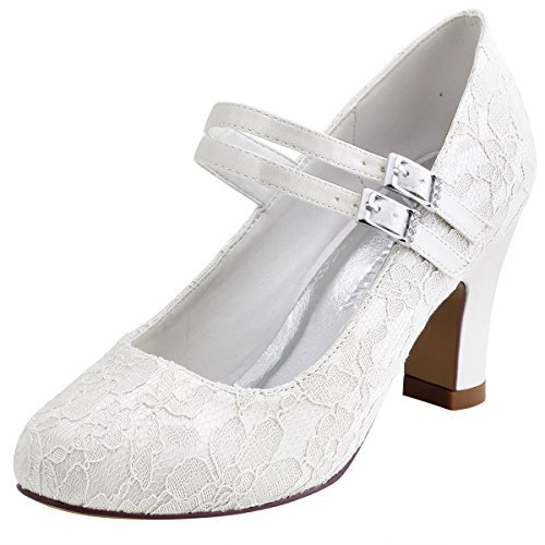 ElegantPark HC1708 Women Mary Jane Block Heel Pumps Closed Toe Lace Bridal Wedding Shoes Ivory US 9 by ElegantPark