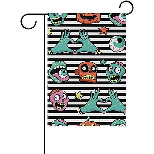 seiruh Halloween Pumpkin Zombies Stripe Spooky Cartoon Comic Polyester Garden Flag Banner 12