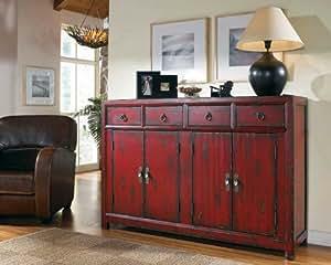 "Hooker Furniture Seven Seas 58"" Red Asian Cabinet"