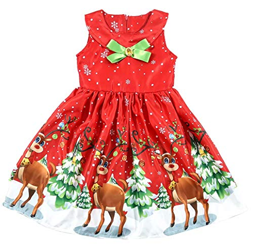 Pleated Four (Kids Toddler Girls Snowflake Cartoon Print Sleeveless Christmas Pleated Dress Size 4-5 Years/Tag120 (Red))
