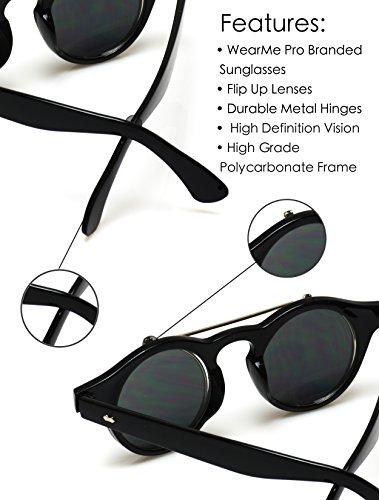 Gafas estilo Concha de Negro cyber se lentes redondas levantan nbsp;steampunk que sol con rrSqwg8Z