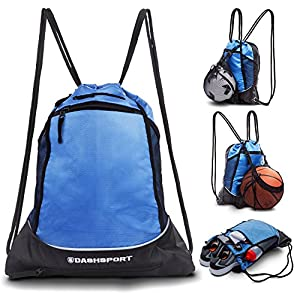 Drawstring Bag with Mesh Net - Perfect Sackpack with Ball Net for all Sports - Gym Bag for Men and Women, Tote Bag, Sports Sack, Light Backpack, Soccer Bag, Basketball, Volleyball, Baseball for Youth from DashSport
