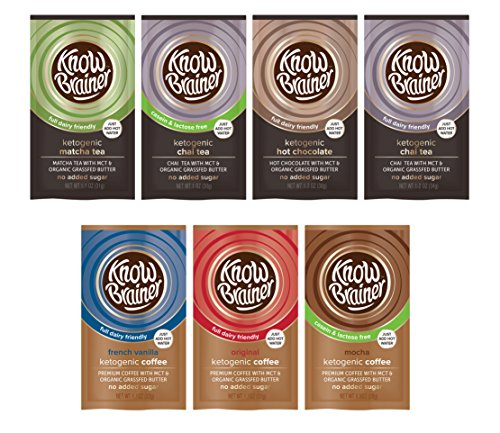 Know Brainer 7 Pack of Ketogenic Instant Coffee – Instant Teas – Instant Hot Chocolate (1 of each flavor)