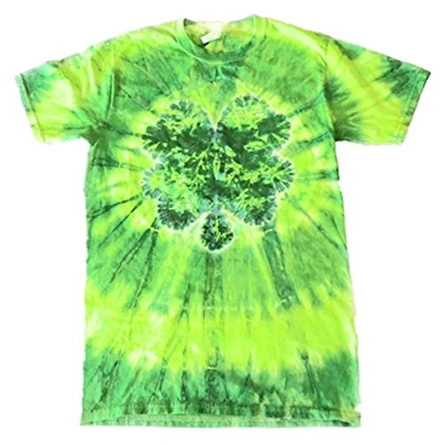 St. Patrick's Day Men's Tye Die Shirt Green Large (Four-Leaf Clover)