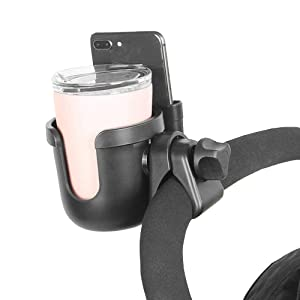 Parent Cup Holder for Stroller,Stroller Cup Holder, Bicycle Cup Holder, Universal Cup Holder Rack for Buggy Pushchair Wheelchair Bike and More (Black) (Black)