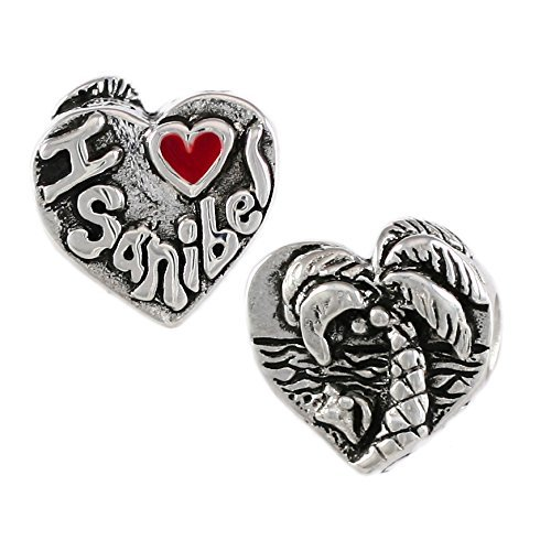 I heart Sanibel Island, FL - Beach Scene - Handmade Sterling Silver Large Hole Charm Bead