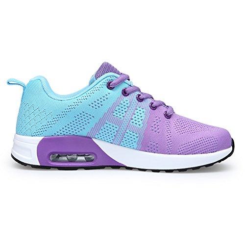 Gomnear Dames Sportschoenen Lichtgewicht Ademend Sportschoenen Fitness Jogging Sneakers Paars