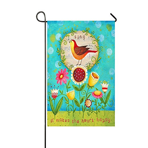 Sing It Makes The Heart Happy 28x40 Inch Garden Flag - Double Sided Holiday Decorative Outdoor House ()