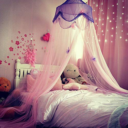 nk Butterfly Decorate Bed Canopy Tent Mosquito Net for Girls Bed, Dressing Room, Out Door Events ()