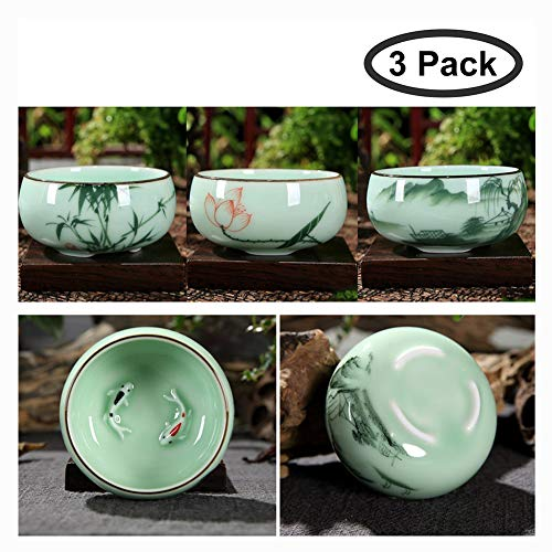 Jade Cup Chinese (HOTUMN Celadon Teacup Porcelain Chinese kungfu Teacup Fishes and Lotus Pattern set of 3 2018 NEW (3 pack))