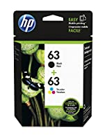 HP 63 Black & Tri-color Original Ink Cartridges, Pack of 2 (L0R46AN)