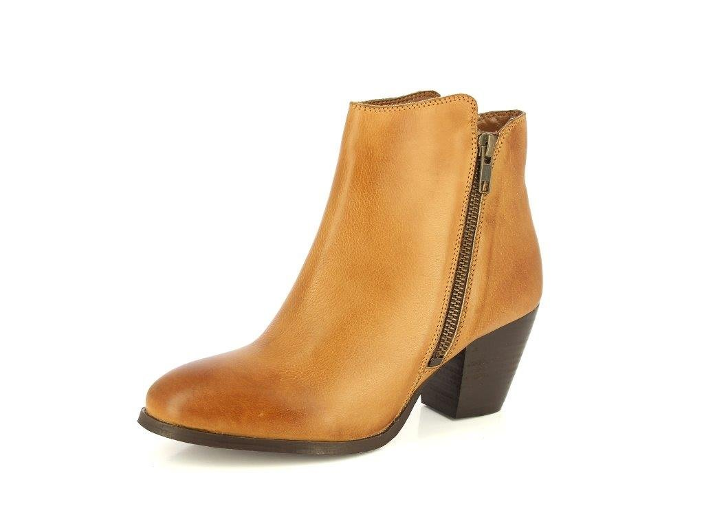 ALBERTO TORRESI Women's Leather Boot Closed Toe Zipper Tassel Low Heel Ankle Boot B07427XTL2 5.5 B(M) US|Tan