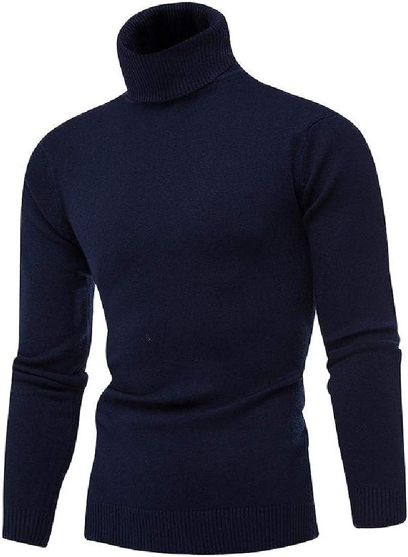 Vska Mens Top Turtleneck Thicken Solid Fall//Winter Pullover Sweaters