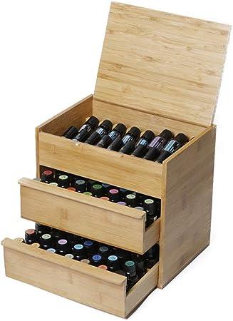 Caja de almacenamiento de aceites esenciales 88 Ranura de madera caja de aceite esencial de 3 gradas Junta interior extraíble con capacidad 15/10/5 Caja de madera para Aceites Esenciales Caja de almac: