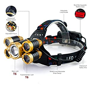 UPGRADE 5 T6 LED LAMPS,Micro-usb charging interface,zoomable & angle adjustable LED headlamp flashlight,IPX4 waterproof headlamp,rechargeable headlamp,18650 headlamp