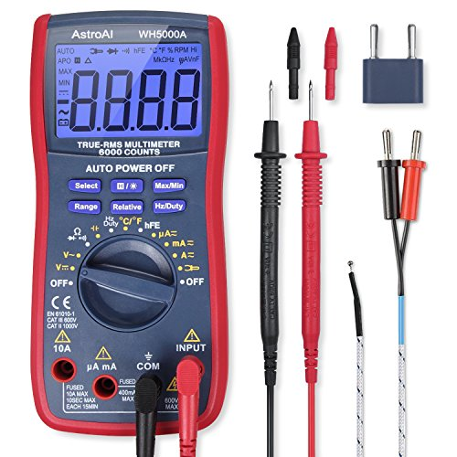 AstroAI Digital Multimeter, TRMS 6000 Counts Volt Meter Manual and Auto Ranging; Measures Voltage Tester, Current, Resistance, Continuity, Frequency; Tests Diodes, Transistors, Temperature, Red by AstroAI