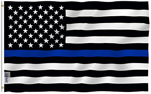 Anley |Fly Breeze| 3x5 Foot Thin Blue Line USA Flag - Vivid Color and UV Fade Resistant - Canvas Header and Double Stitched - Honoring Law Enforcement Officers Flags Polyester with Brass Grommets