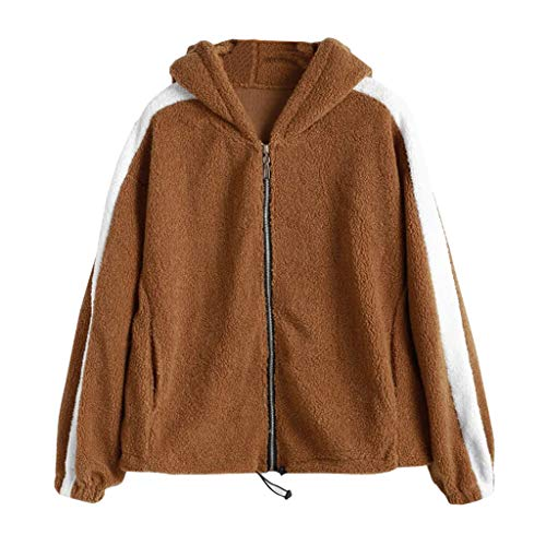 Spring Color  Womens Solid Color Striped Zipper Sweatshirt Faux Fur Long Sleeves Coat Outwear with Pockets Brown