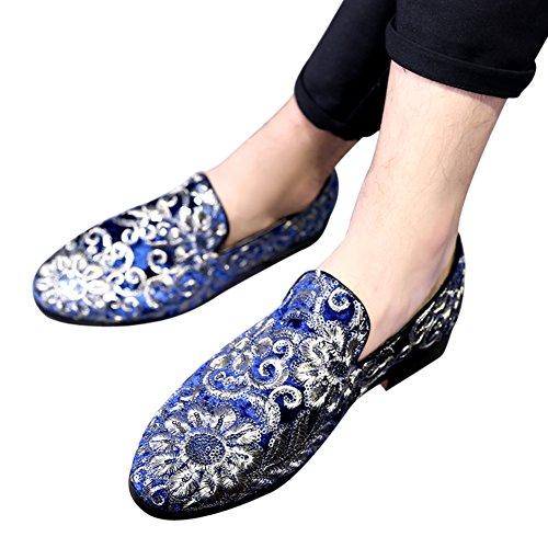 Mens Mocassins Velours Paillettes Broderie Smoking Pantoufles Robe Chaussures Mariage Mocassin Slip-on Appartements Bleu