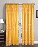 Sally Textile Aliya Embroidered Panel with Attached Valance and Backing, 55×84 Inches, 2-Pack (Bright Yellow) Review