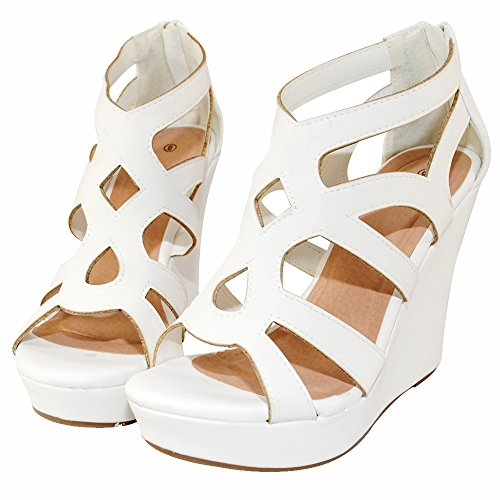 White High Wedge - Women Gladiator High Wedge Platform Sandal Shoes (7.5, White)