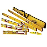 """Stabila 78496 Type 196 Heavy Duty Complete 6 Level Kit - 78""""/48""""/32""""/24""""/16""""/10"""" Die Cast Magnetic Torpedo Level Includes Nylon Carrying Case"""