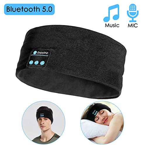 Sleep Headphones Bluetooth Wireless Headband, LC-dolida Sleeping Mask Headphones Bluetooth 5.0 for Side Sleepers Muisc Earphones with HD Stereo, Long Play Time, for Sports, Travel, Black