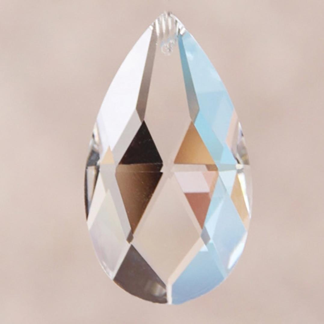 KEERADS Magnificent Crystal Chandelier Lamp Prisms Parts Hanging Leaf Pendants for Christmas Wedding party Decoration Crystal Bead Pendant 38mm