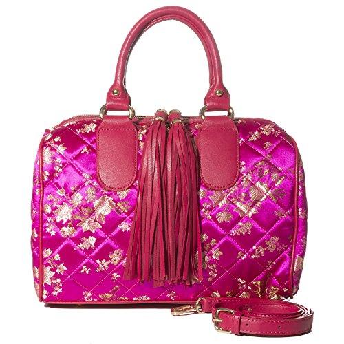 Flower Satchel Handbags (Handbag Republic Womens Vegan PU Leather Top Handle Handbag Tube Satchel Style Two Tassel Zipper Closure (Flower Pattern 1 - Fuschia))