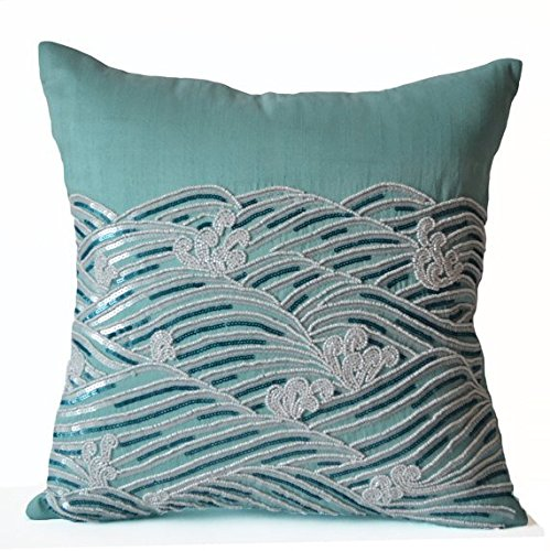 Amore Beaute Handcrafted Teal Silk Decorative Pillow Cover Ocean Waves Pillows Sequin Beaded Throw Pillow Cover Spring Summer Decor Housewarming Gifts Dorm Decor (24x24 inches)