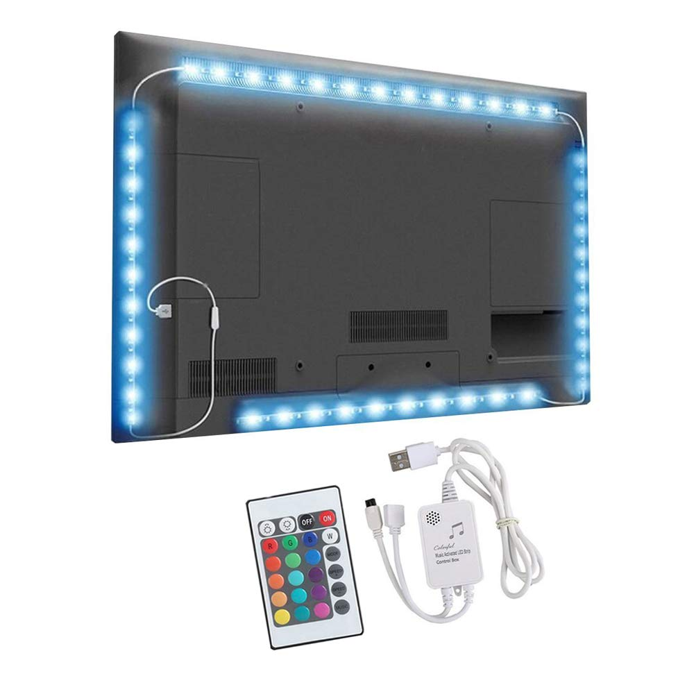 comboss Music TV Backlight, 6.56ft SMD 5050 RGB Sync to Music Bias Lighting with 24-Key Remote for 40-60 Inches TV, Desktop, PC(2 x 1.31ft + 2 x 1.97ft Strip Light)