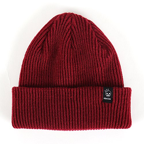 VASTAN Beanie Solid Color Warm Knit Soft Acrylic Skull Unisex, Red ()