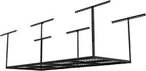 "Fleximounts 3x8 Overhead Garage Storage Rack Adjustable Ceiling Storage Rack Heavy Duty, 96"" Length x 36"" Width x 40"" Height (Black)"