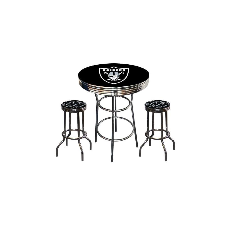 Oakland Raiders Logo NFL Football Chrome Bar Pub Table Set with 2 Swivel Bar Stools   Home Bars