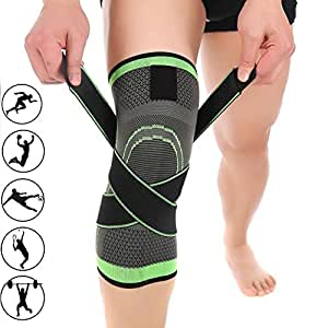 3D Weaving Compression Knee Support Sleeve Brace Breathable for Running Jogging Sports for Joint Pain and Arthritis Relief, Improved Circulation Compression (M)