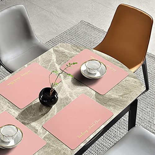 ALLONWAY Platzset, PU Leder Tischset, Tischsets Abwaschbar, wasserdichte Und Abwischbar Platzset, Platzdeckchen rutschfeste für Küche Speisetisch, Rosa, 45 cm × 32 cm (4er Set)