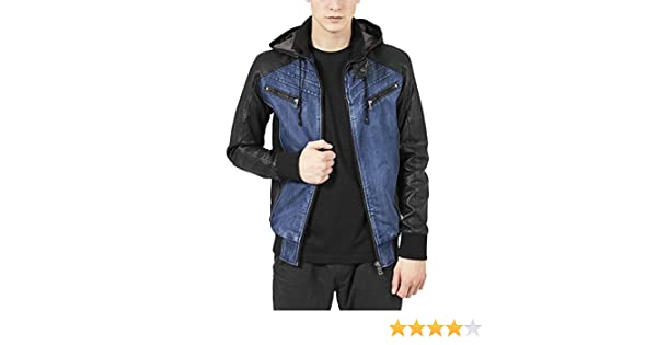 Urban Classics Mens Light Jacket TB675 Hooded Denim Leather Jacket at Amazon Mens Clothing store: