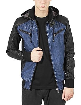 Urban Classic Men's Hooded Denim Leather Jacket: Amazon.co.uk ...