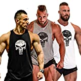 GZXISI Mens Skull Print Stringer Bodybuilding Gym Tank Tops Workout Fitness Vest (3...