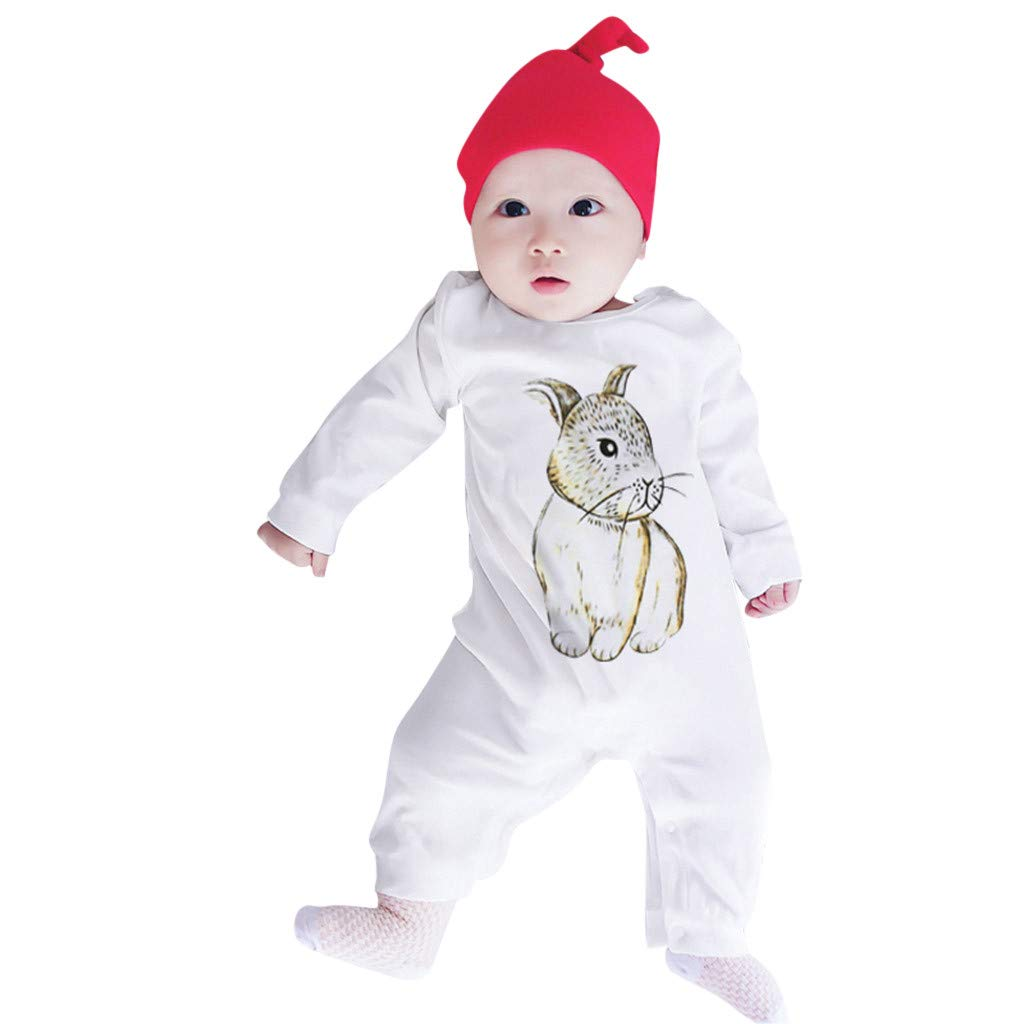 NUWFOR Infant Baby Long Sleeve Cartoon Rabbit Print Romper Jumpsuit Clothes (White,18-24 Months