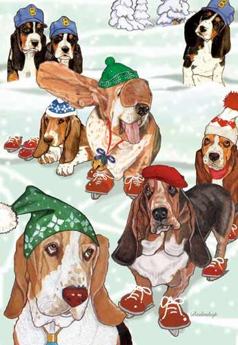 Basset Hound Christmas Cards Bassets On Ice : 10 Holiday Cards with White Envelopes - ADORABLE!
