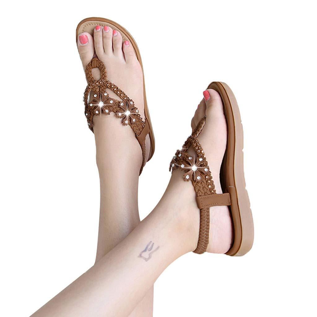 Sandals THENLIAN Summer Women's Shoes Bohemian Sandals Rhinestone Flats Clip-Toe Weaving Slippers(41, Brown)