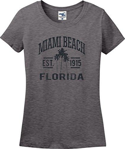 Utopia Sport Miami Beach Florida Established 1915 Palm Trees Ladies T-Shirt (S-3X) (Ladies XXX-Large, Graphite - South Lincoln Road Beach Miami