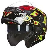 ILM Motorcycle Dual Visor Flip up Modular Full Face Helmet DOT with 7 Colors (L, SUNFLOWER)