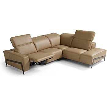 Ju0026M Furniture Ocean Italian Leather Right Facing Sectional Sofa In Miele