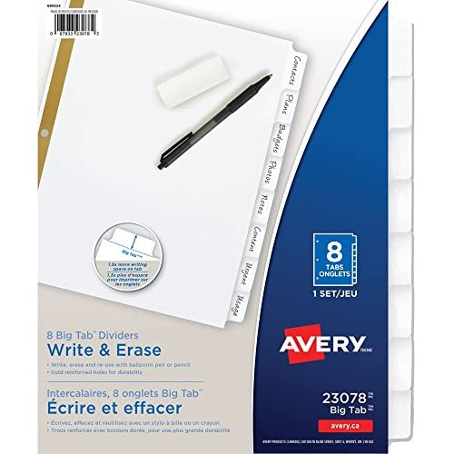 Avery Big Tab Write & Erase Dividers, 8 White Tabs, 1 Set (23078) for sale