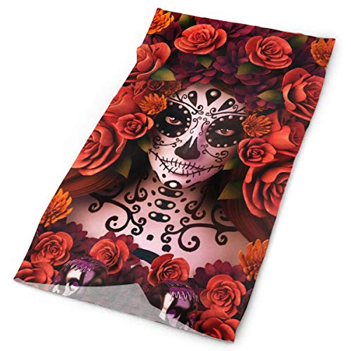 O-X_X-O Clothing Accessories Fashion Sugar Skulls and Roses Day of Dead Halloween Seamless Headband UPF 30 High Performance Moisture Wicking Bandana Face Mask Balaclava of 100% Polyester Microfiber ()